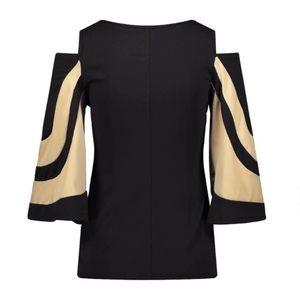 Black and Tan cold shoulder blouse